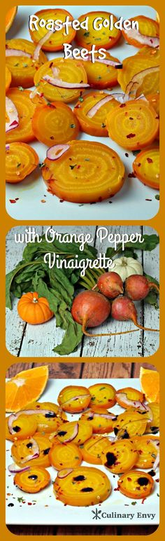Roasted Golden Beets with Orange Pepper Vinaigrette are caramelized, sweet citrus, beet rounds of healthy goodness.