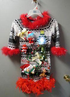 7d5ee65ad9f4 Kids Girls Snowman Fun Tacky Ugly Christmas Sweater Dress Christmas Symbols  Light up fiber optic bow Tinsel Snowman, Bell size M 6