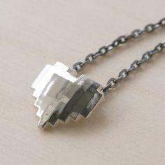 Silver 8-Bit Heart Necklace