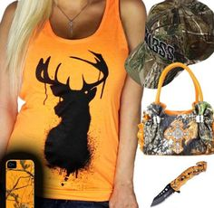 Cute orange and camo outfit. Love the buck shirt