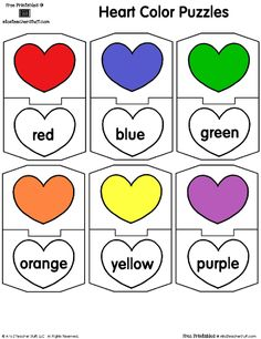 Free Printable: Match the color word to the colored heart.