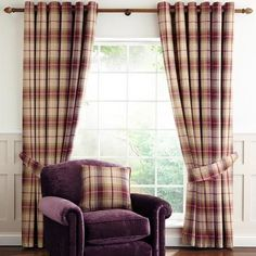 Esmeralda Purple Check Thermal Eyelet Lined Curtains W