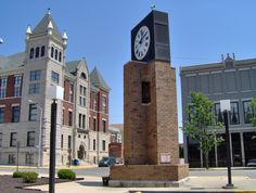 A blend of the old and new.... Courthouse Clock & Masonic Temple.  The Masonic Temple was erected in 1896 and the Courthouse clock in 1979.  This tower was erected in honor of the military veterans of Cass County. The clock and bell were salvaged from the old Cass County Court House, originally built in 1844, subsequently added to in 1888, and finally demolished in 1979 to make way for the new Cass County Government Building.