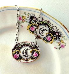 Broken china jewelry necklace antique C initial monogram rose floral china