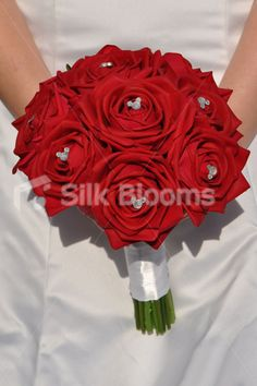 Red wedding bouquets red rose bridal bouquet real touch bling silk artificial mickey mouse inspired red rose bridal bouquet w white satin ribbons mightylinksfo