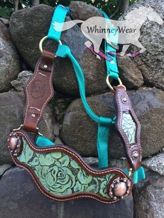 Mint floral bronc halter   www.whinneywear.com - Also have custom fly masks.