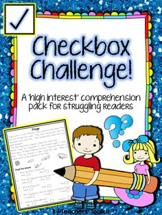 $ Checkbox Challenge #Non-fiction #Comprehension Pack For #Struggling #Readers