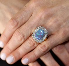 Black Opal Diamond Gold Ring | From a unique collection of vintage fashion rings at https://www.1stdibs.com/jewelry/rings/fashion-rings/