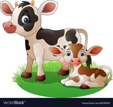 Cartoon cow with newborn calf Royalty Free Vector Image Farm Animals, Animals And Pets, Cute Animals, Baby Animal Drawings, Cartoon Drawings, Cartoon Cow, Cute Cartoon, Inkscape Tutorials, Cute Cows