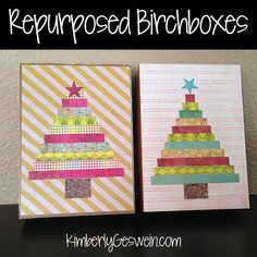 Birchbox Trees - This is a great way to use up your extra Birchbox boxes!  Modpodge strips of cardstock onto a Birchbox lid.