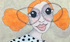 naive malerier - www.evakock.dk Abstract Faces, Watercolor Face, Sketchbook Inspiration, Human Art, Naive Art, Whimsical Art, Collage Art, Art Sketches, Painting & Drawing