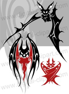 Tribal Bats. Cuttable vector clipart in EPS and AI formats. Vectorial Clip art for cutting plotters.