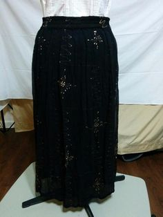 BUY IT NOW! FREE SHIPPING!  Rayon Chiffon Full Skirt Black with Gold Double Layer Size 20 Plus Size 1X  | eBay