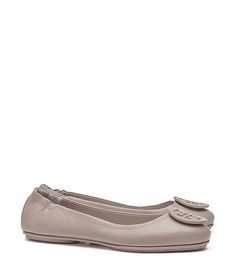 Tory Burch Minnie Travel Ballet Flat, Leather French Grey - size 7