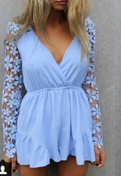 chiffon flower lace jumpsuit