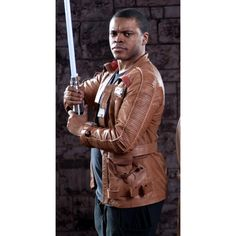 Star Wars The Force Awakens Finn Griffin Tan leather Jacket-Celebrity leather Costume