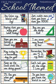 School Themed Printable Lunchbox Jokes and Notes for Kids!- School Themed Printable Lunchbox Jokes and Notes for Kids! Kids Lunch Box Notes, Kids Notes, Motto, Jokes And Riddles, School Notes, School Stuff, Jokes For Kids, Kids Meals, School Lunches