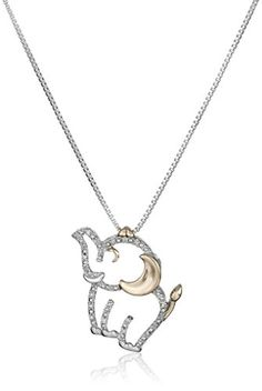 Sterling Silver and 14k Rose Gold Diamond Elephant Pendant Necklace ** Be sure to check out this.