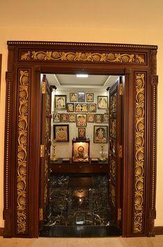 A Chettinad Style Apartment in Bangalore - Pooja room - Door Design Front Door Design Wood, Pooja Room Door Design, Wooden Door Design, Main Door Design, House Front Design, Gate Design, Kitchen Room Design, Dining Room Design, Kitchen Interior