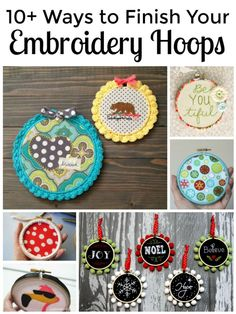 This blog has gathered  some great ideas on how to decorate /finish off the embroidery hoop to add another level of pow to your finished project.  I love the fabric wrapped hoop idea and tutorial from Love the Bluebird blog. Direct link to that also on this inspiration board.