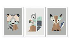Fox,Bear and Squirrel Nursery Prints, Series of three. Nursery art, Nursery prints, nursery decor, Woodland Nursery, kidsroom art, Kids art.