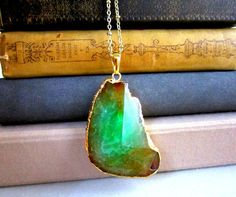 Emerald Green Geode Necklace Gem Stone Agate Big Pendant Layered Long Necklace Natural Rustic Statement Chunky Large Bohemian