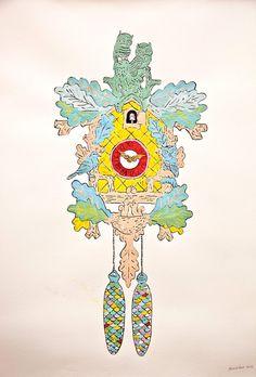 Sendak Forest Cuckoo Clock Painting- Print