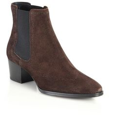 Tod's Suede Perforated Chelsea Boots (1,003 CAD) ❤ liked on Polyvore featuring shoes, boots, apparel & accessories, brown, brown chelsea boots, suede shoes, chelsea bootie, suede leather boots and stacked heel boots