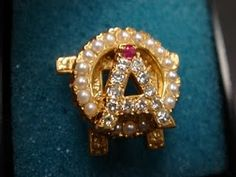 Alpha Omicron Pi, Date Unknown, 18 Pearls, 12 Diamonds, 1 Ruby, Chased, Yellow Gold