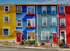 John's, Nfld its called jelly bean row .for its beautiful colors.They stand out against the snow in the winter time. Gros Morne, Newfoundland And Labrador, Newfoundland Canada, Canadian Travel, O Canada, Beautiful Buildings, Jelly Beans, Oh The Places You'll Go, House Painting