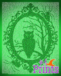 Halloween Decor Owl in Tree Ornate Frame Song Lyrics by KFPrints