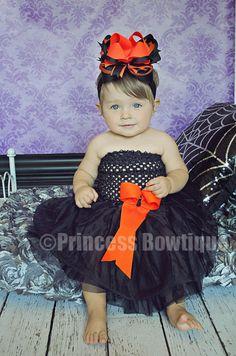 black and orange baby to infant tutu dress