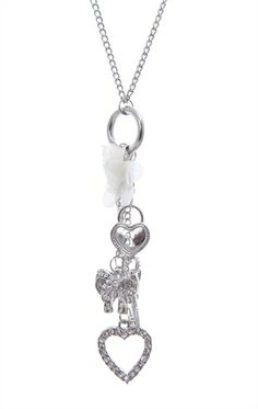 Deb Shops Long Chain #Necklace with #Butterfly, #Bow, Key and #Hearts Charms $6.93