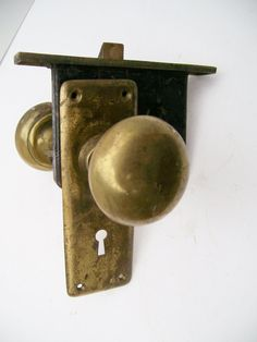 Antique Brass Door Knobs Keeper Lock and Door Plate by 2birdstudio
