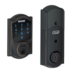 Schlage Connect Camelot Touchscreen Deadbolt w/ Built-In Alarm, Aged Bronze, BE469 CAM 716 Schlage Lock Company http://www.amazon.com/dp/B00AGK9KUU/ref=cm_sw_r_pi_dp_lrAXwb0HM03G4