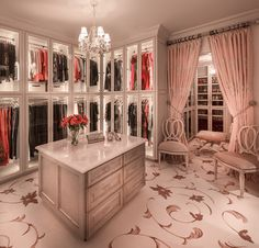 Glass storage in the walk-in closet