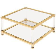 Mid-Century Lucite, Brass, Glass Coffee Table