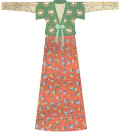 Tang Dynasty. Jacket and skirt together with short-sleeved upper garment. 130 cm sleeve span and 142 cm length. Reconstruction based on unearthed pottery figurines and frescoes. [Figure 160 in 5000 Years of Chinese Costume.]