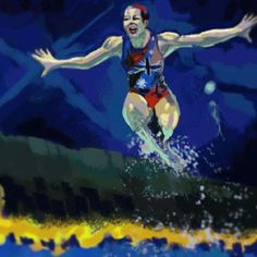 Color & composition study. Synchronized swimmer jumping above the water surface. Photo reference - one of the winners of World Press Photo 2013.