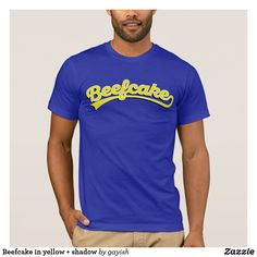 Beefcake in yellow + shadow T-Shirt  #beefcake #slang #muscular #manly #fitness #fit #male #tshirt #brighyellow #muscles