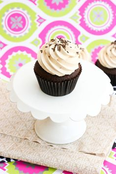 Krissy's Creations: Chocolate Peanut Butter Cupcakes with peanut butter chips inside and peanut butter cream frosting...oh my!