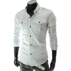 New Mens Fashion Luxury Casual Slim Fit Stylish Dress Shirt long Sleeve 2 Colors Simple White Dress, Well Dressed Men, My Guy, Look Cool, Casual Shirts, Formal Shirts, Shirt Style, Men Casual, Menswear