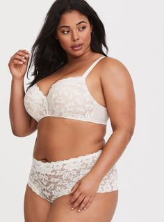 5f9ba827cc084 Ivory Lace Push-Up Balconette Bra - Ivory nude underwire cups lend the right  lift. Torrid