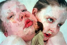 Jenny Saville picutured with her 1999 portrait Hyphen