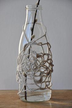 free style crochet bottle cosy