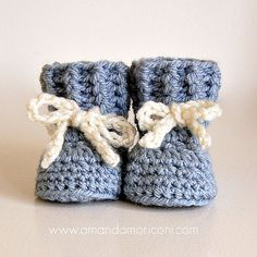 Ravelry: Lovely Laces Crochet Baby Booties Pattern pattern by Amanda Moriconi