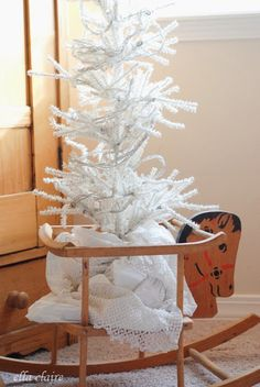 Vintage rocking horse with a White tree / Christmas Home Tour 2013