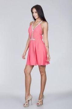 f348eec95d ArkCo Anthropologie Womens Halter Backless Dress Size M Pink Embellished  V-neck  bossbabe
