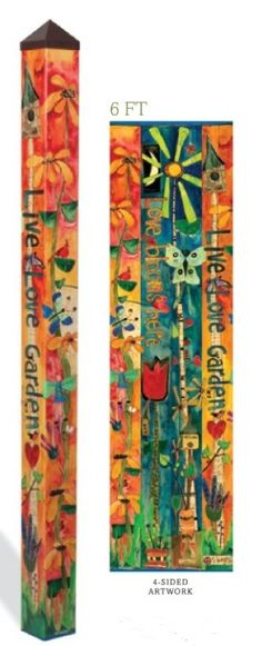 This is my favorite of our peace poles! Live love garden and love blooms here. love the colors! Carefree art for your garden.