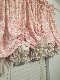 Pink Nursery Toile Balloon Curtain with Parchment Double